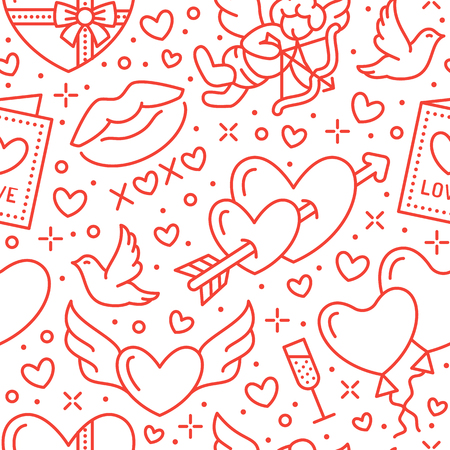 Valentines day seamless pattern. Love, romance flat line icons - hearts, chocolate, kiss, Cupid, doves, valentine card. Red white wallpaper for February 14 celebration.