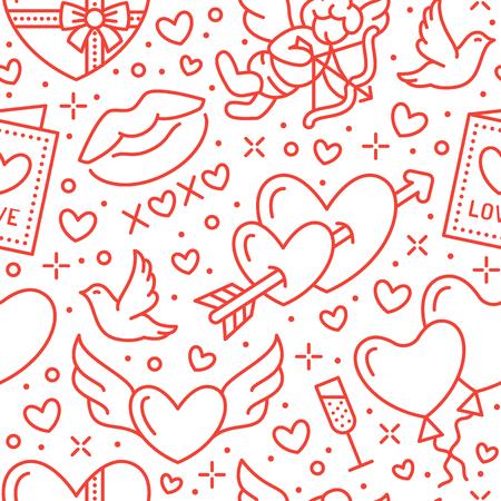 Walentynki-dzień wzór. Miłość, romans ikony płaskiej linii - serca, czekolada, pocałunek, amorek, gołębie, karta walentynkowa. Czerwono-biała tapeta na obchody 14 lutego. Ilustracje wektorowe