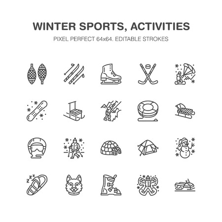 Winter sports vector flat line icons. Outdoor activities equipment snowboard, hockey, sled, skates, snow tubing, ice kiting. Linear pictogram with editable stroke for ski resort. Pixel perfect 64x64. Illustration