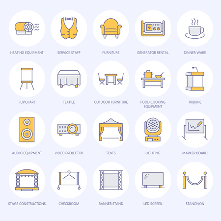 Event supplies flat line icons. Party equipment - stage constructions, visual projector, stanchion, flipchart, marquee. Illustration