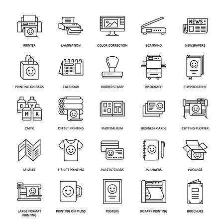 Printing house flat line icons. Print shop equipment - printer, scanner, offset machine, plotter, brochure, rubber stamp. Thin linear signs for polygraphy office, typography. Vetores