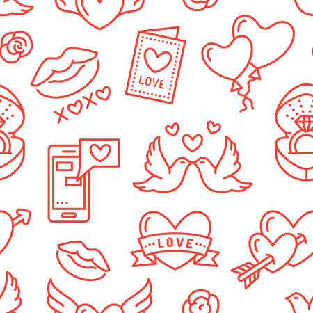 Valentines day seamless pattern. Love, romance flat line icons - hearts, engagement ring, kiss, balloons, doves, valentine card. Red, white wallpaper for february 14 celebration.