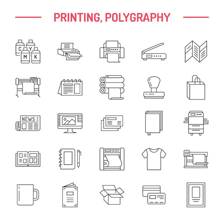Drukarnia ikon płaskiej linii. Wyposażenie drukarni - drukarka, skaner, maszyna offsetowa, ploter, broszura, pieczątka. Cienkie znaki liniowe do biura poligraficznego, typografia.