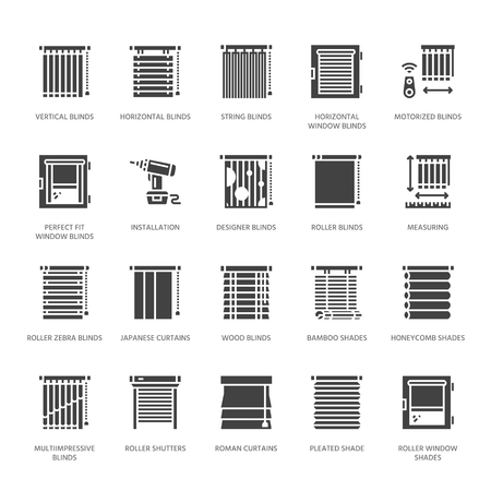 Window blinds, shades vector glyph icons. Various room darkening decoration, roller shutters, roman curtains, horizontal vertical jalousie. Interior design solid silhouette signs for house decor shop.