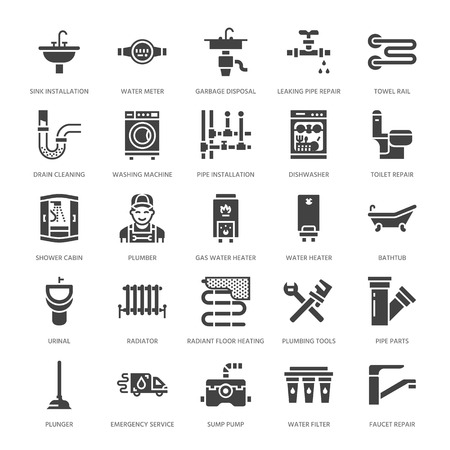 Plumbing service vector flat glyph icons. House bathroom equipment, faucet, toilet, pipeline, washing machine, dishwasher. Plumber repair illustration, solid signs for handyman services. Illustration