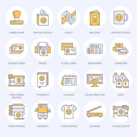Printing house flat line icons. Print shop equipment - printer, scanner, offset machine, plotter, brochure, rubber stamp. Thin linear signs for polygraphy office, typography.