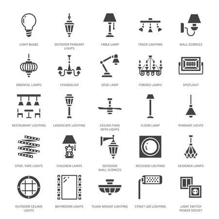 Light fixture, lamps flat glyph icons. Home and outdoor lighting equipment - chandelier, wall sconce, bulb, power socket vector illustration, signs for electric, interior store. Pixel perfect 64 x 64.