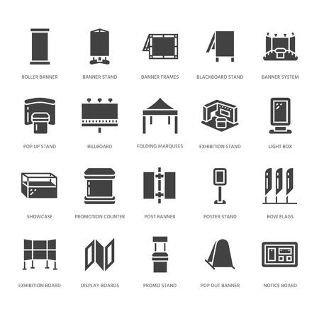 Stojaki na banery reklamowe, wyświetlają płaskie ikony glifów. Stojaki na broszury, tablice pop-up, billboardy z flagą w kształcie łuku, składane namioty imprezowe, elementy projektu promocyjnego. Znaki obiektów handlowych. Idealny do pikseli 64x64.