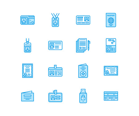 Documents, identity vector flat line icons. ID cards, passport, press access student pass,  migration certificate, token legal contract illustration. Notarial office signs. Pixel perfect 64x64. Vectores
