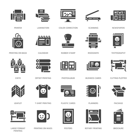 Printing house flat glyph icons. Print shop equipment - printer, scanner, offset machine, plotter, brochure, rubber stamp. Silhouette signs for polygraphy office, typography. Ilustração