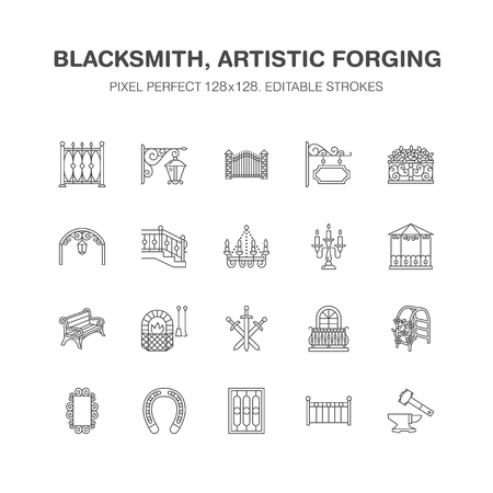Forged metal products, artistic forging vector flat line icons. Blacksmith , window fence, gate, railing, garden furniture, signboard street lights. Metal decoration signs. Pixel perfect 64x64.