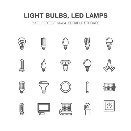 Icônes de ligne plate ampoules. Types de lampes à LED, fluorescent, filament, halogène, diode et autres éclairages. Signes linéaires minces pour le concept d'idée, magasin électrique. Pixel parfait 64x64. Vecteurs
