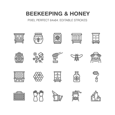 Beekeeping, agriculture flat line icons.