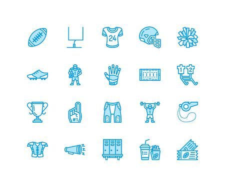 American football, rugby vector flat line icons. Sport game elements - ball, field, player, helmet, fan finger, snacks. Linear signs set, championship pictogram for fan store. Pixel perfect 64x64.