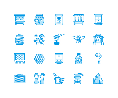 Beekeeping, apiculture flat line icons. Beekeeper equipment, honey processing, honeybee, beehives types natural products. Bee garden, apiary thin linear signs, organic farm shop. Pixel perfect 64x64.