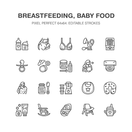Breastfeeding, baby food vector flat line icons. Breast feeding elements - pump, woman, child, powdered milk, bottle sterilizer, nursing pillow. Maternity. Pixel perfect 64x64.