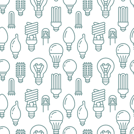 Light bulbs seamless pattern with flat line icons.