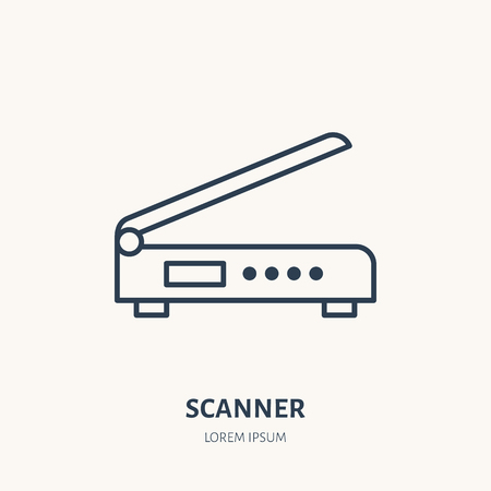 Scanner flat line icon. Office scanning device sign. Thin linear icon for printing, equipment store.
