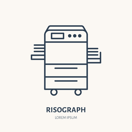 Risograph printer with paper flat line icon. Office printing device sign. Thin linear logo for printery, equipment store.