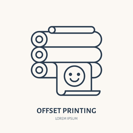 Offset printer with printed paper flat line icon. Printing device sign. Thin linear logo for printery, equipment store.