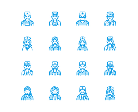 Doctors professions. Medical occupations - surgeon, cardiologist, dentist therapist, physician, nurse intern. Hospital clinic outline signs Pixel perfect 64x64.