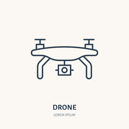 Drone flat line icon. Aerial survey device sign. Thin linear logo for photo equipment store.