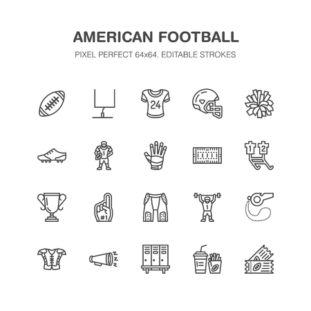 American football, rugby vector flat line icons. Sport game elements. Linear signs set, championship pictogram for fan store. Vettoriali