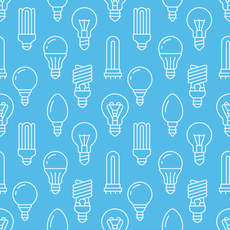 Light bulbs blue seamless pattern with flat line icons. Led lamps types, fluorescent, filament, halogen, diode and other illumination. Modern background with linear signs for electric store.