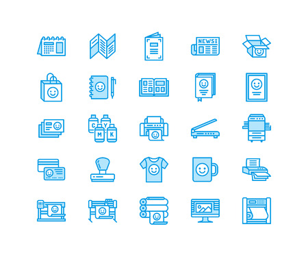 Printing house flat line icons. Print shop equipment. Thin linear signs for polygraphy office, typography.