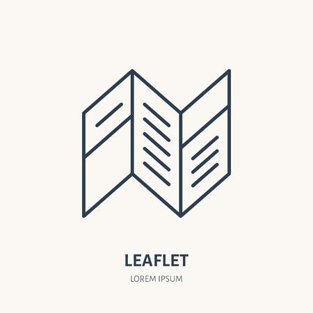 Leaflet flat line icon. Brochure sign. Thin linear logo for printery, design studio.