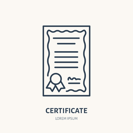 Certificate, patent vector flat line icon. Legal document sign. Illustration