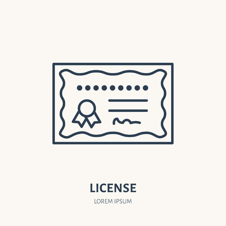 Certificate, patent vector flat line icon. Education document sign. Illustration