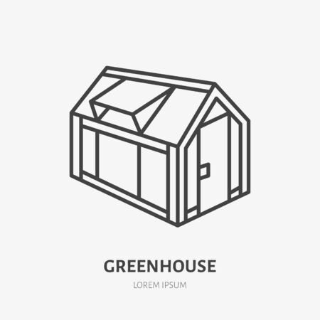 Greenhouse flat line icon. Garden cold frame sign. Thin linear logo for farm, vegetables growing.