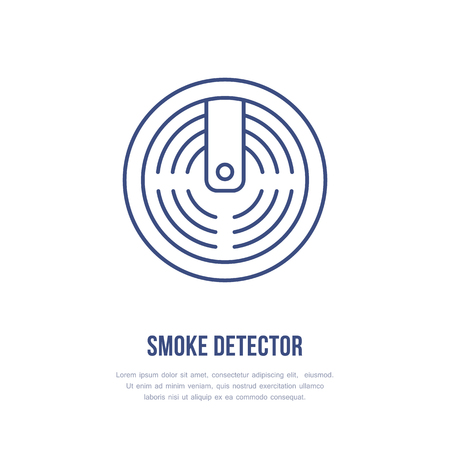 Smoke detector sign. Firefighting, fire safety equipment flat line icon.