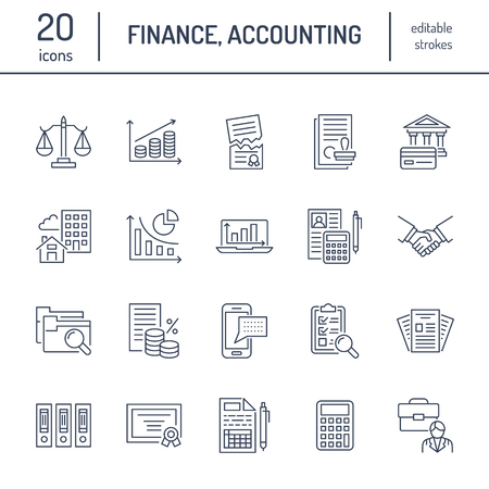 Financial accounting flat line icons.