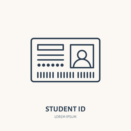 Student access card, identity vector flat line icon. ID document sign.