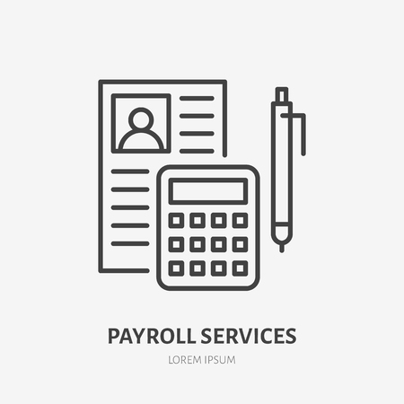 Payroll with consultation flat line icon. Personnel accounting sign. Thin linear icon for legal financial services, accountancy.