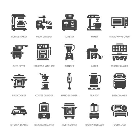 Kitchen small appliances flat glyph icons. Household cooking tools signs. Food preparation equipment - blender, coffee machine, microwave, toaster, grinder. Solid silhouette pixel perfect 64x64.
