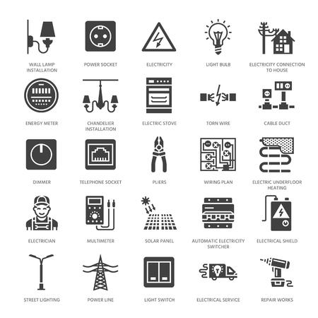 Electricidad ingeniería vector glifo plano iconos. Equipo eléctrico, toma de corriente, cable rasgado, medidor de energía, lámpara, cableado multímetro. Servicios de electricista signos. Silueta sólida píxel perfecto 64x64. Ilustración de vector