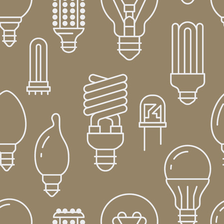Light bulbs seamless pattern with flat line icons. Led lamps types, fluorescent, filament, halogen, diode and other illumination. Modern beige background with linear signs for electric store.