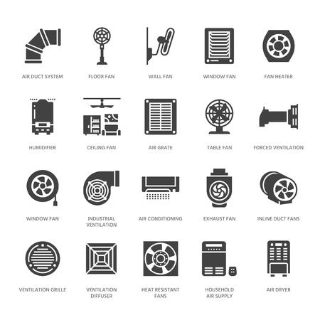 Icone del glifo con apparecchiature di ventilazione. Aria condizionata, apparecchi di raffreddamento, aspiratore. Insegne per ventilatori domestici e industriali per negozio di elettrodomestici. Pixel di sagoma solida perfetto 64x64.