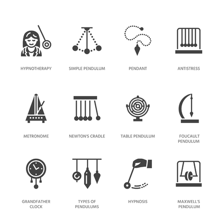 Vector flat glyph icons of pendulums types. Newton cradle, metronome, table pendulum, perpetuum mobile, gyroscope. Signs for hypnosis, hypnotherapy. Solid silhouette pixel perfect.