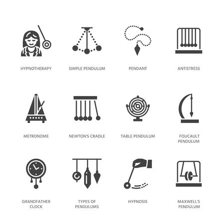 Vector platte glyph iconen van slingers typen. Newton-wieg, metronoom, tafelslinger, perpetuum mobile, gyroscoop. Tekenen voor hypnose, hypnotherapie. Solide silhouet pixel perfect. Vector Illustratie