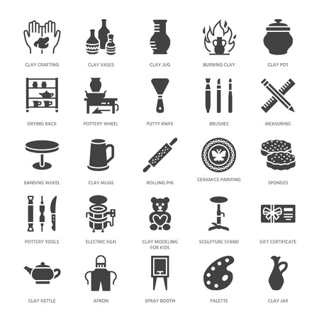 Pottery workshop, ceramics classes flat glyph icons. Clay studio signs. Hand building, sculpturing equipment - potter wheel, electric kiln, tools. Solid silhouette pixel perfect.