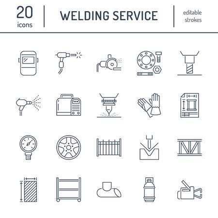 溶接サービスフラットラインアイコン。ロール金属製品、製鉄所、ステンレス鋼レーザー切断、製造、旋削作業、安全装置、粉体塗装。溶接機サービスのための業界の薄いサイン。 写真素材 - 101178447