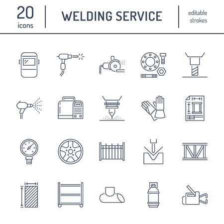 Welding services flat line icons. Rolled metal products, steelwork, stainless steel laser cutting, fabrication, turning works, safety equipment, powder coating. Industry thin sign for welder services. Banco de Imagens - 101178447