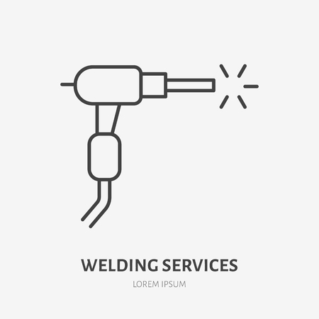 Welding flat line icon. Metal works sign. Thin linear logo for stainless steel fabrication, welder services. Vettoriali