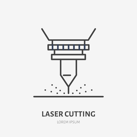 Laser cutting flat line icon. Metal works tool sign. Thin linear logo for stainless steel fabrication, figured carving services. Stock Illustratie