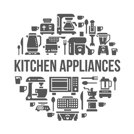 Kitchen small appliances equipment banner illustration. Vector glyph icons of household cooking tools - blender, mixer, food processor, coffee machine, microwave, toaster. Electronics circle template. Çizim