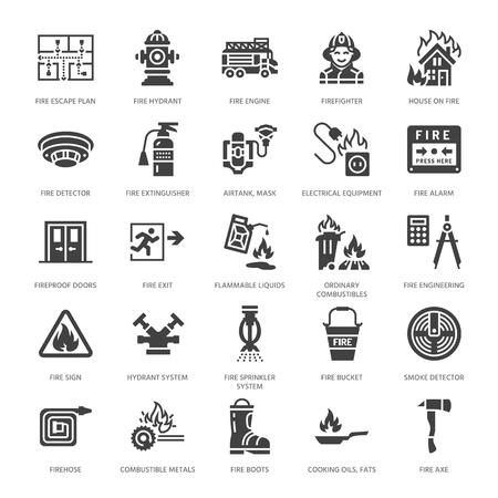Brandbekämpfung, Brandschutzausrüstung flache Glyphensymbole. Feuerwehrauto, Feuerlöscher, Rauchmelder, Haus, Warnschilder, Feuerwehrschlauch. Flammenschutzpiktogramm. Feste Silhouette Pixel perfekt 64x64.